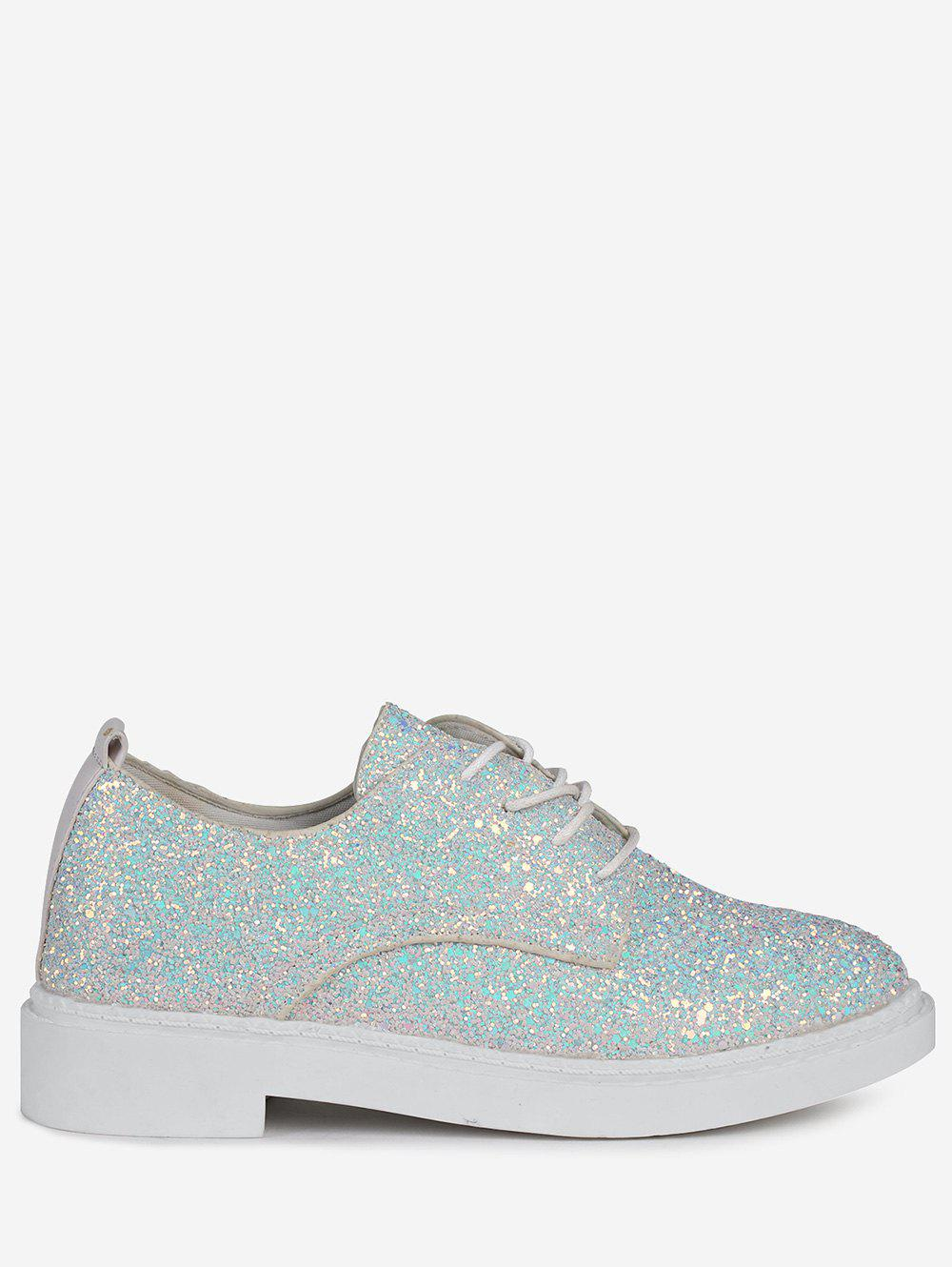 Glitter Low Top Tie Up Flat Shoes - Blanc 37