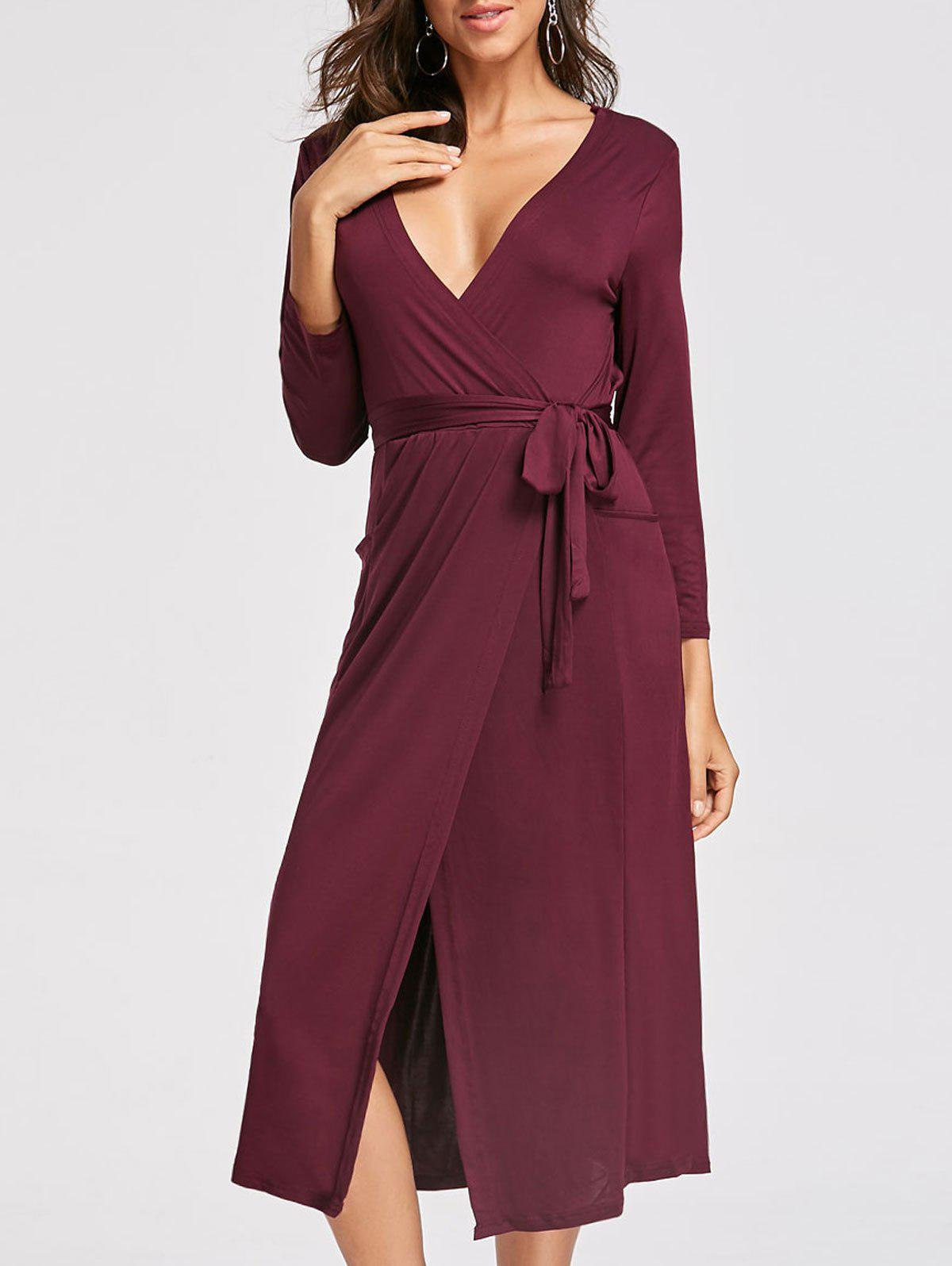 Plunging Neckline High Low Midi Dress - WINE RED L