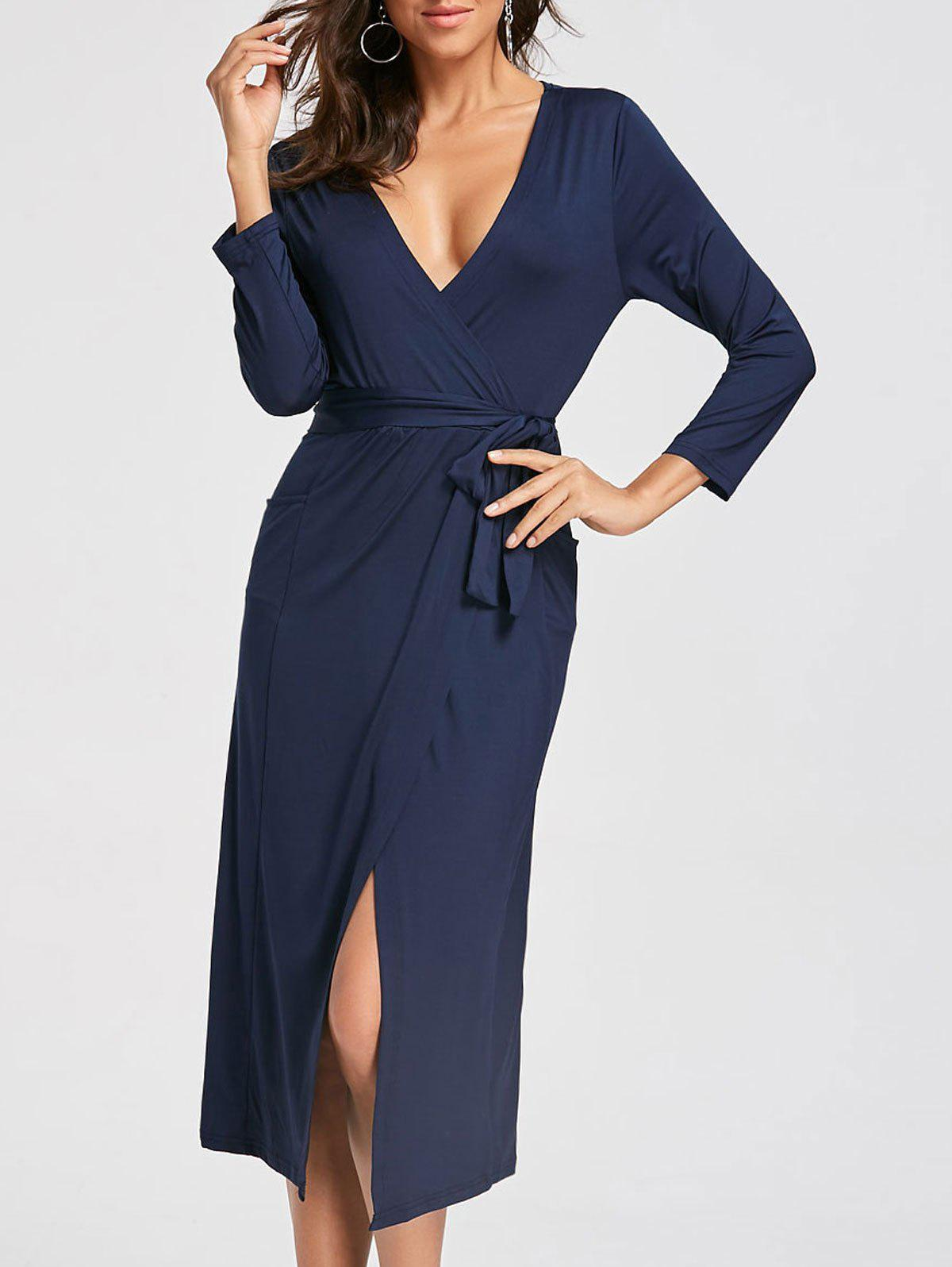 Plunging Neckline High Low Midi Dress - DEEP BLUE XL