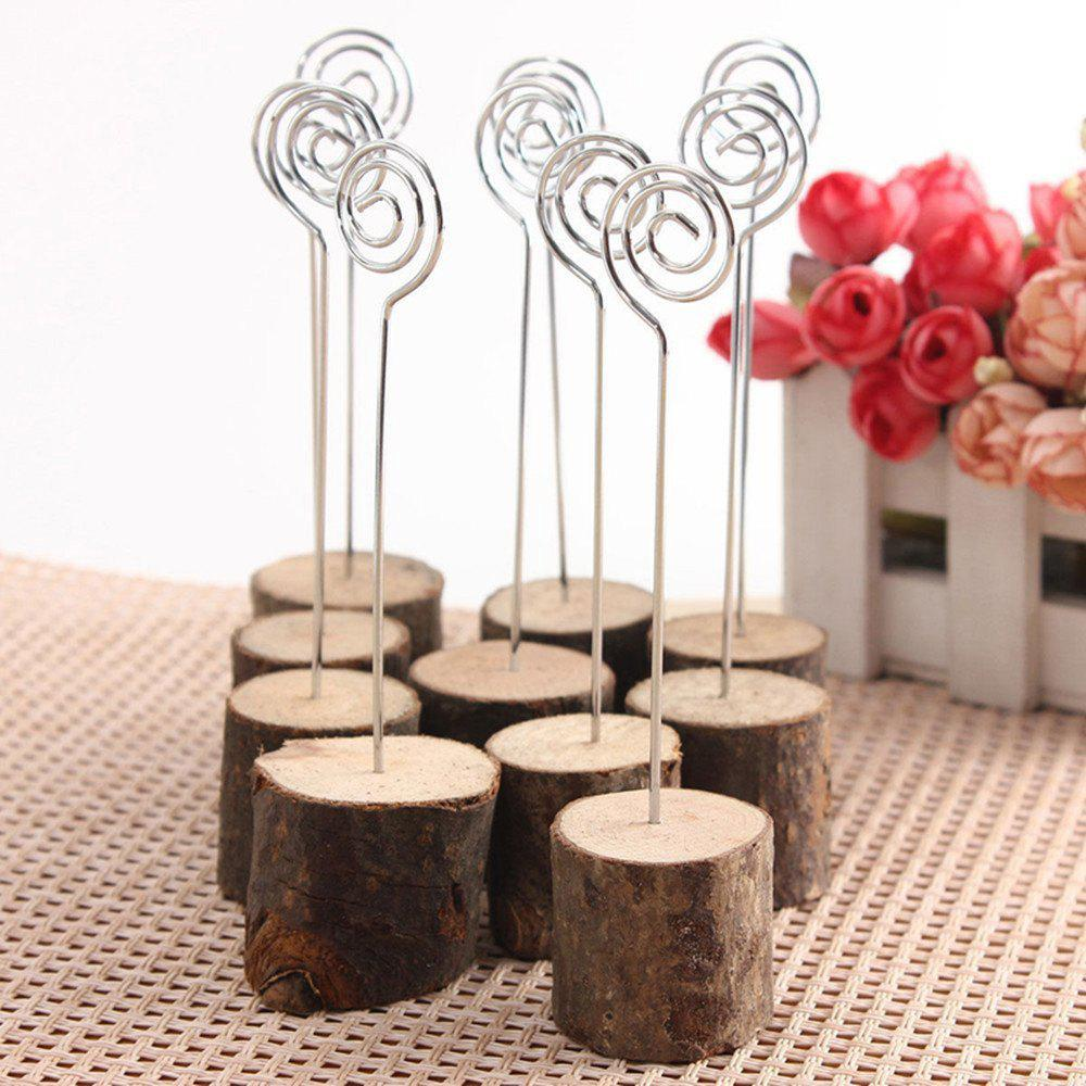 10 Pcs Wooden Table Card Number Holders - BROWN