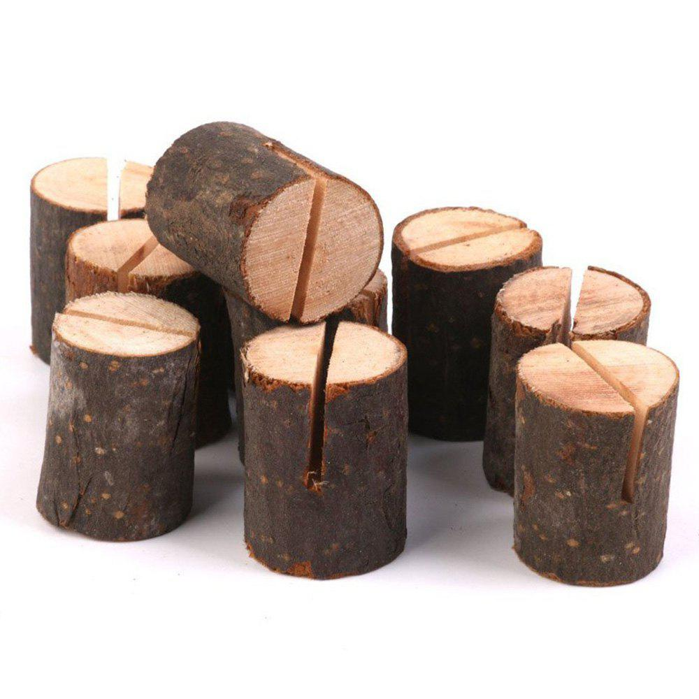 10 Pcs Wood Table Number Holders - BROWN