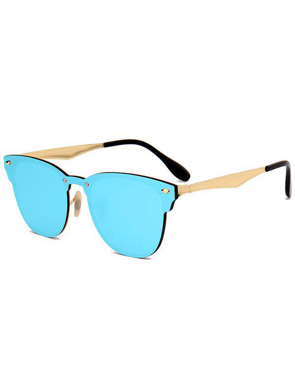 Metallic Panel Mirror Wayfarer Sunglasses - ICE BLUE