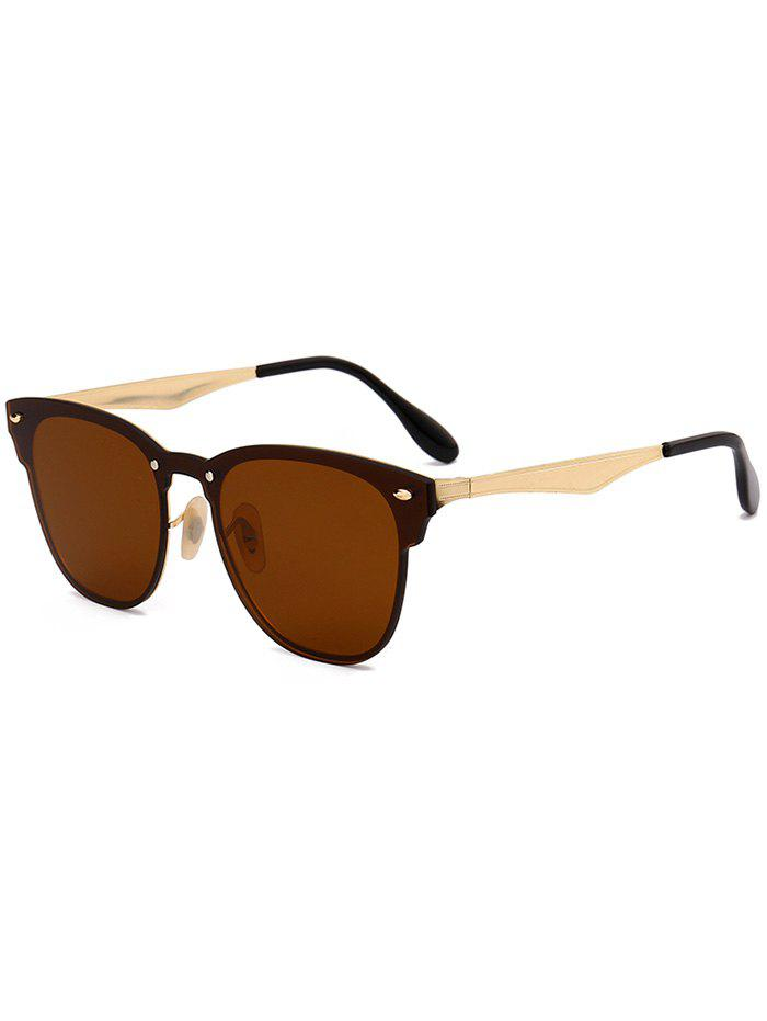 Metallic Panel Mirror Wayfarer Sunglasses - CHOCOLATE