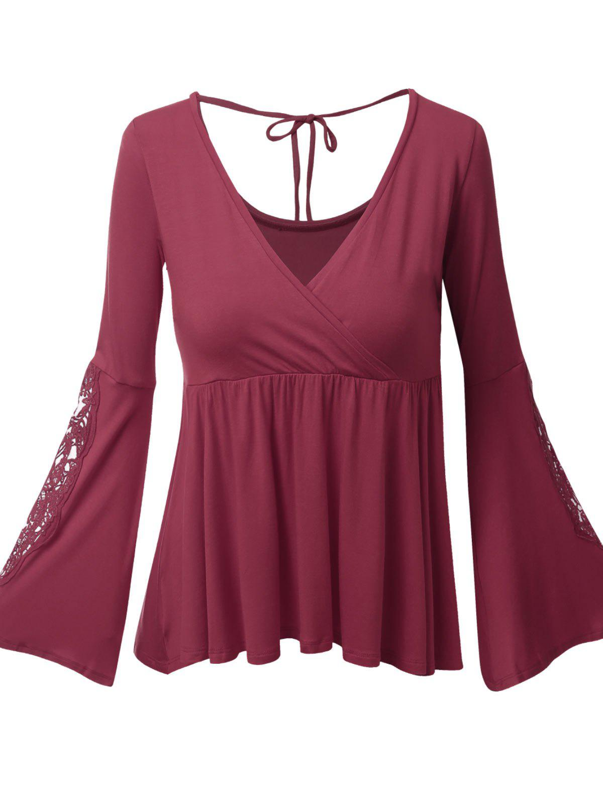 Plus Size Surplice Bell Sleeve Lace Panel Tee - RED XL