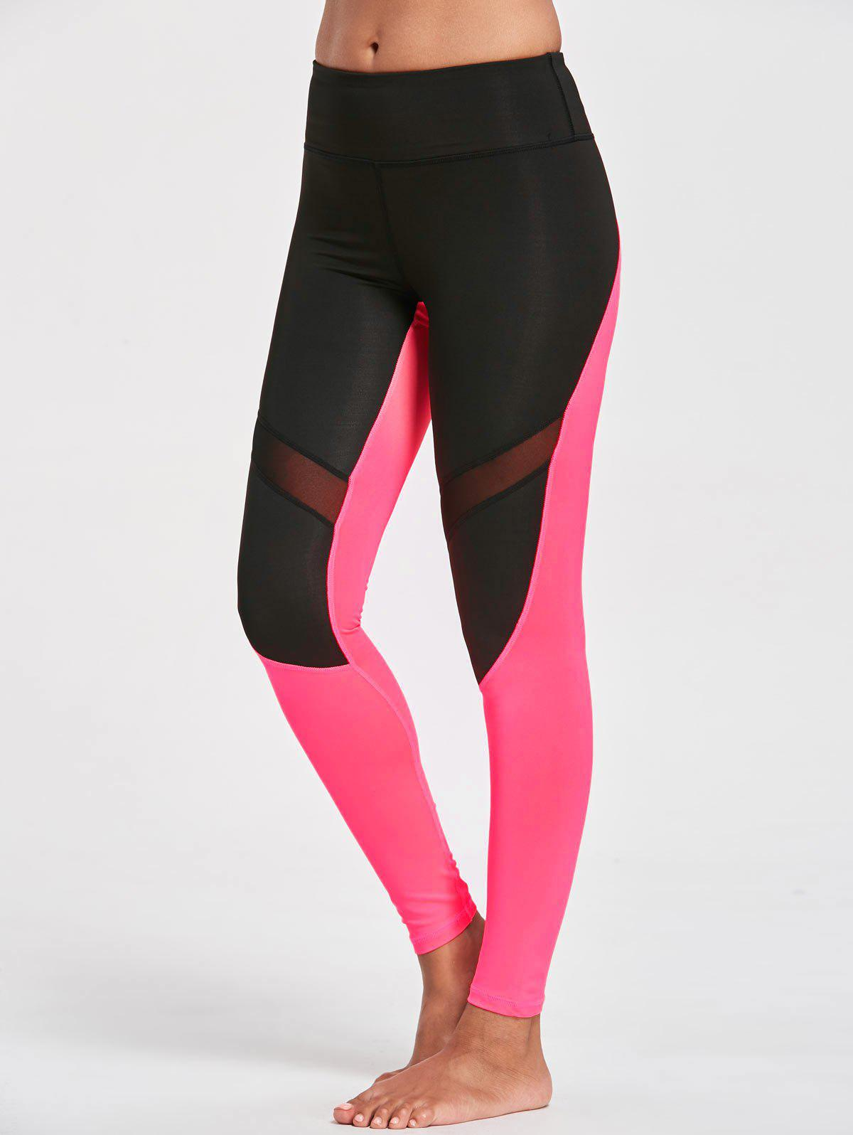 Leggings de yoga en maille de blocs de couleurs - Noir et Rose Rouge L
