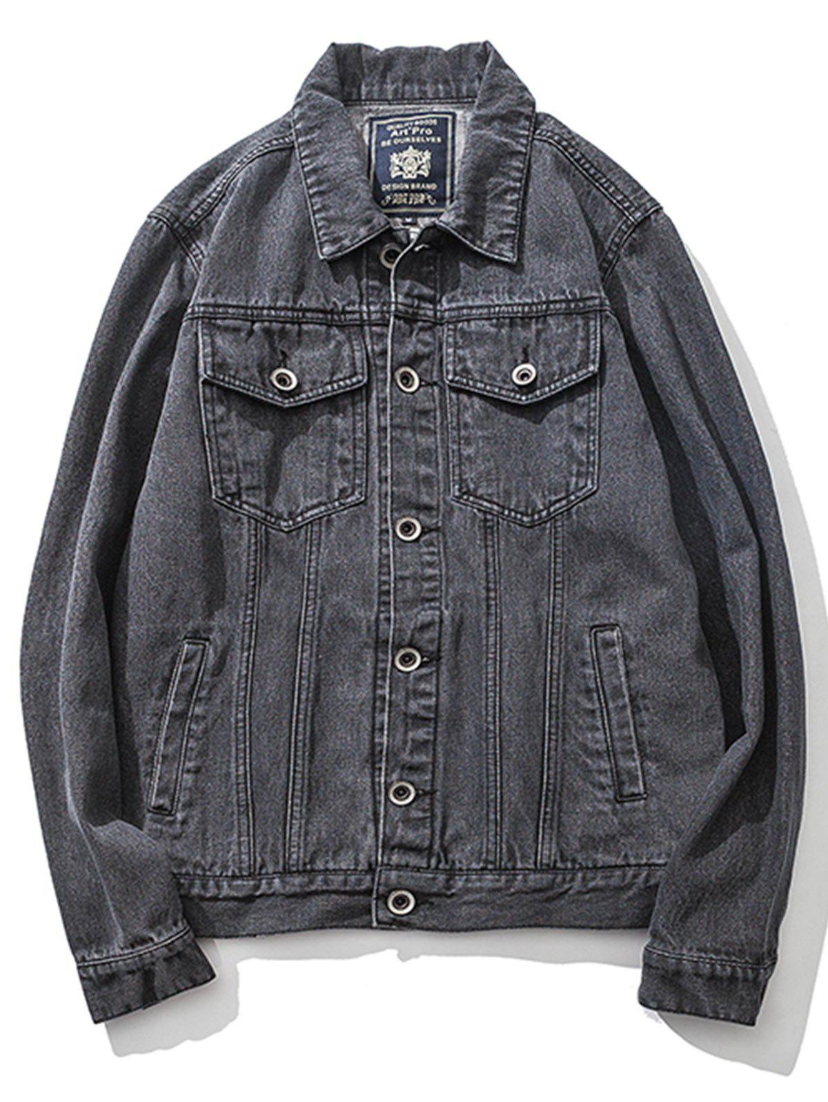 Double Pockets Single Breasted Denim Jacket - GRAY 2XL