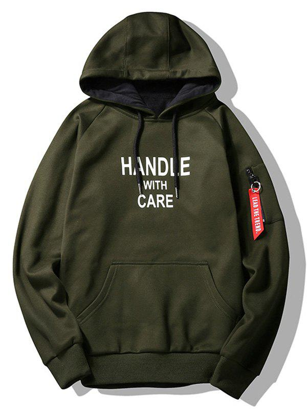 Handle With Care Graphic Flocking Hoodie graphic flocking mens hoodie