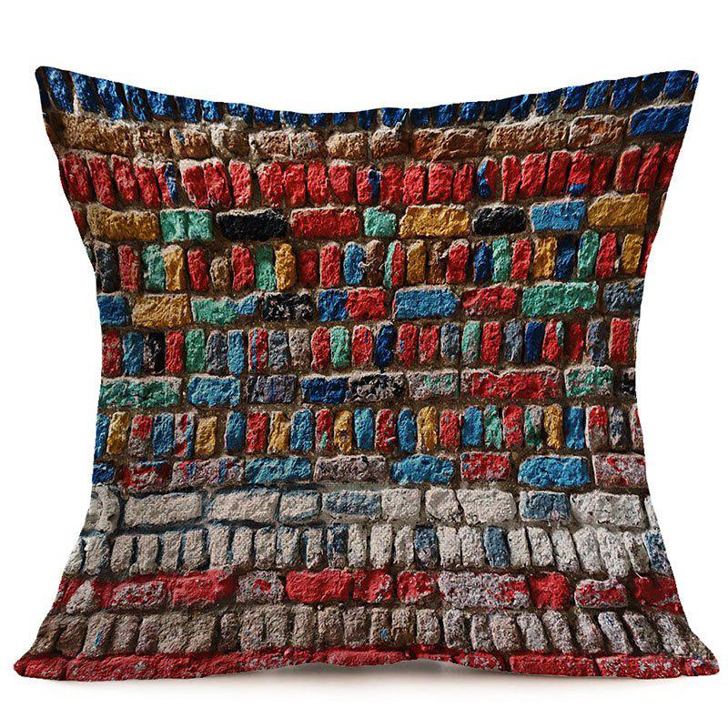Colorful Brick Wall Pattern Square Pillow Case - COLORFUL W18 INCH * L18 INCH