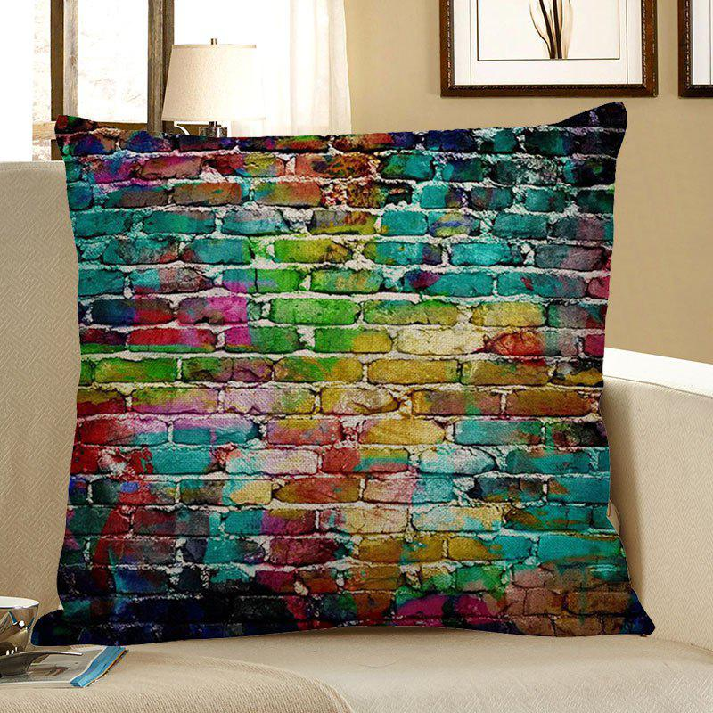 Chromatic Brick Pattern Home Decor Pillow Case - COLORFUL W18 INCH * L18 INCH