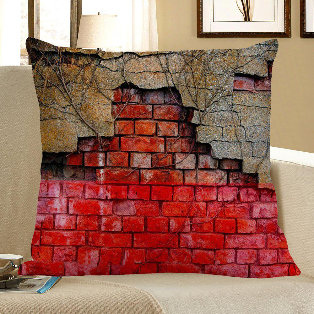 Broken Wall Pattern Home Decor Pillow Case - RED W18 INCH * L18 INCH