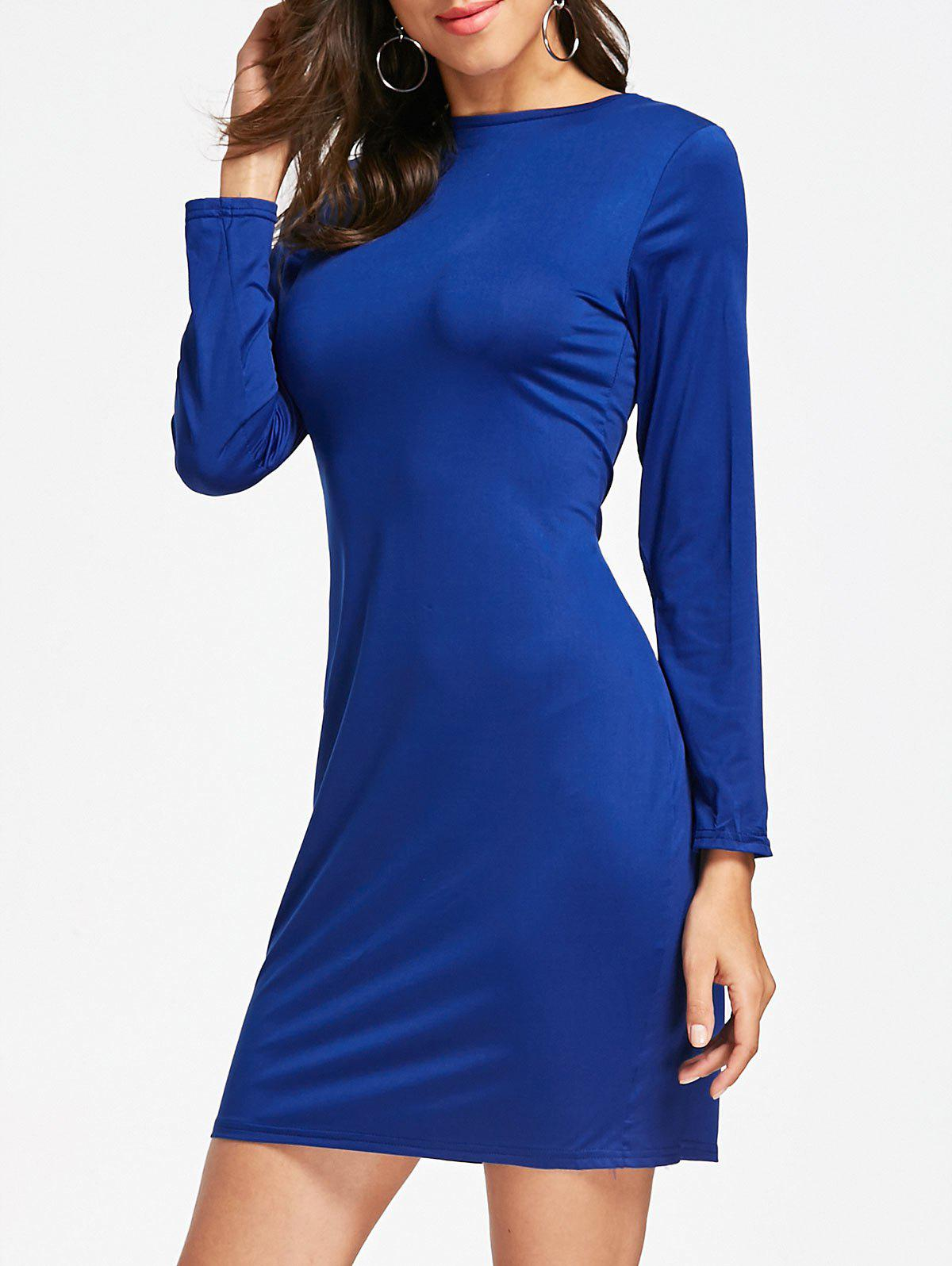 Long Sleeve Full Zip Pencil Dress - BLUE S