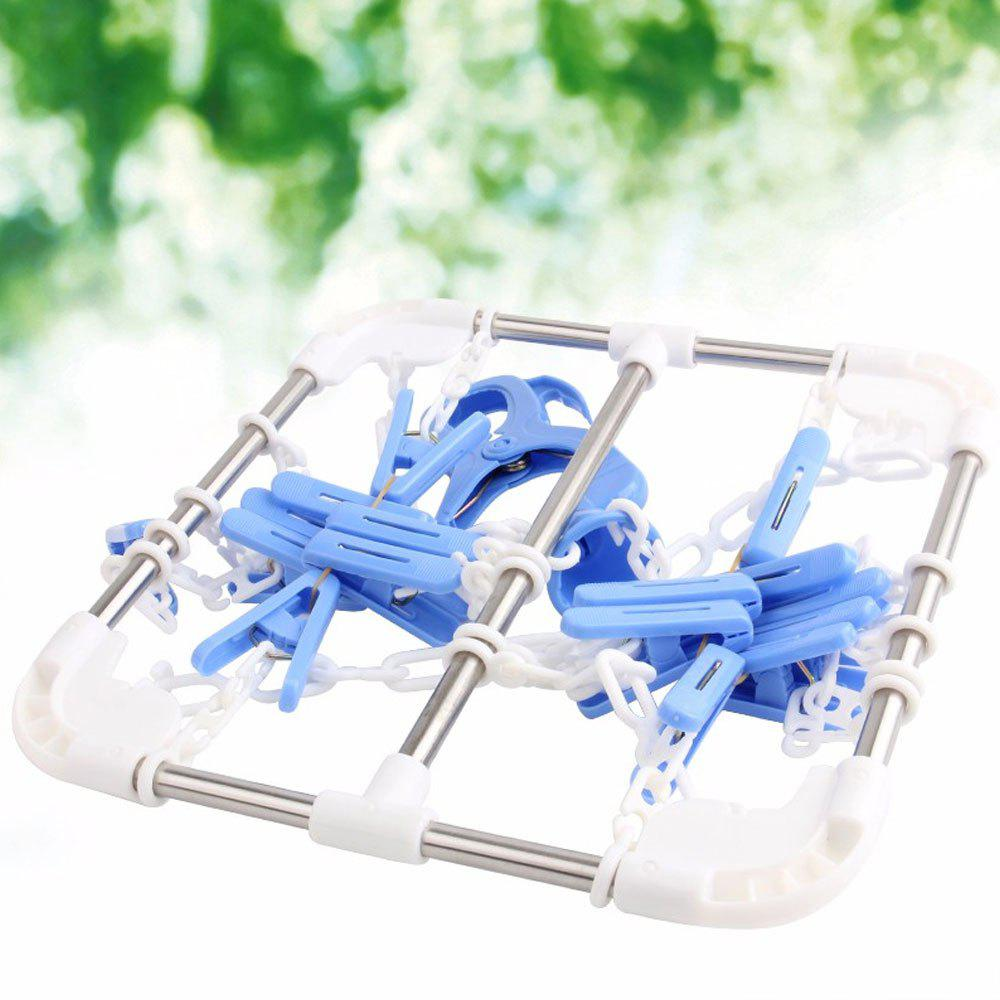 Household Socks Clothes Hanging Dryer with 16 Clips - BLUE