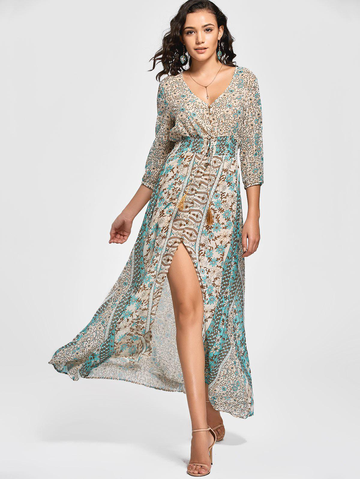 Vintage Style Plunging Neck 3/4 Sleeve Full Floral Print Elastic Waist Front Slit Robe Maxi Femme - multicolore L
