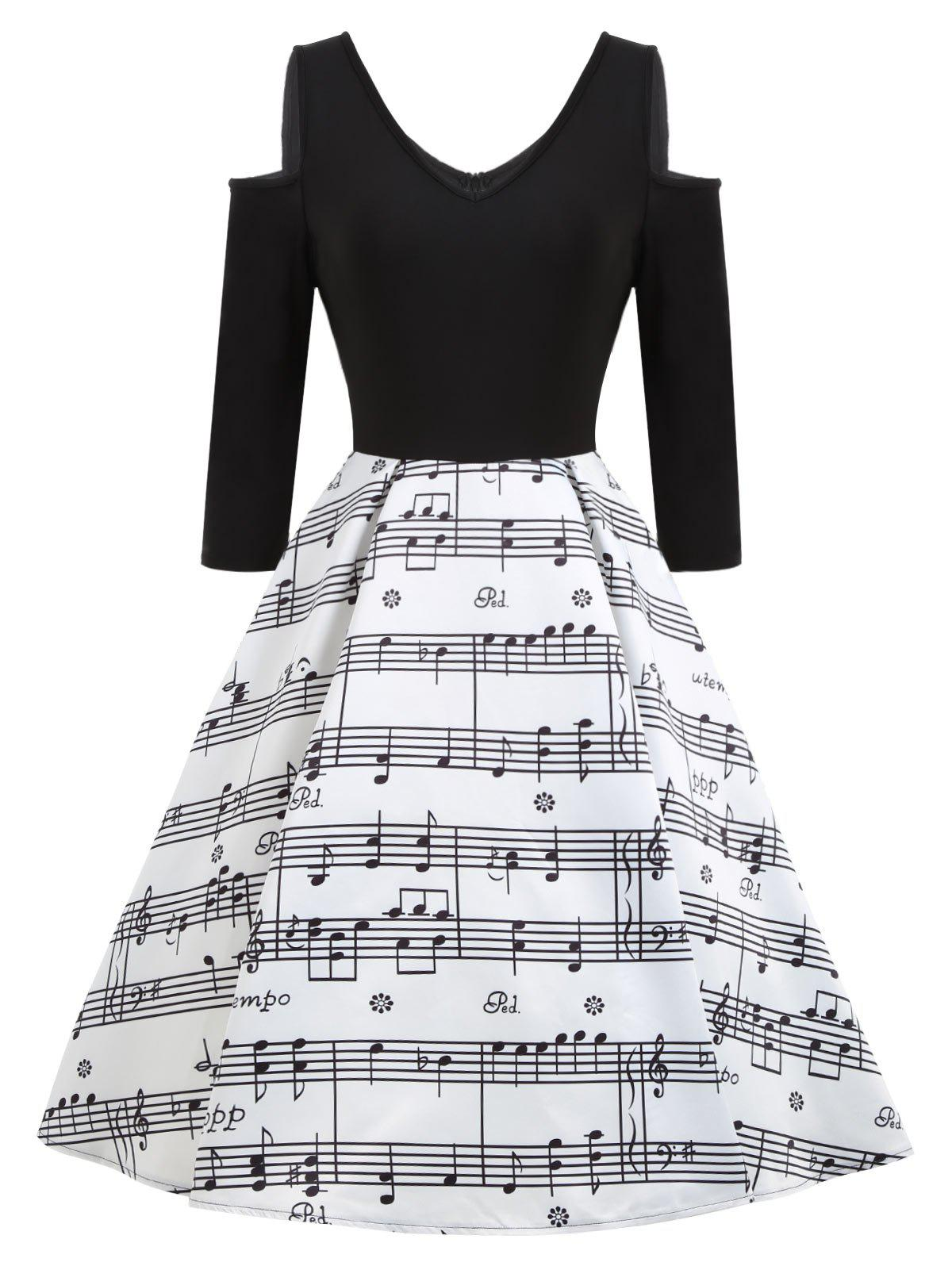 Cold Shoulder Music Note Print Vintage Dress - WHITE/BLACK S