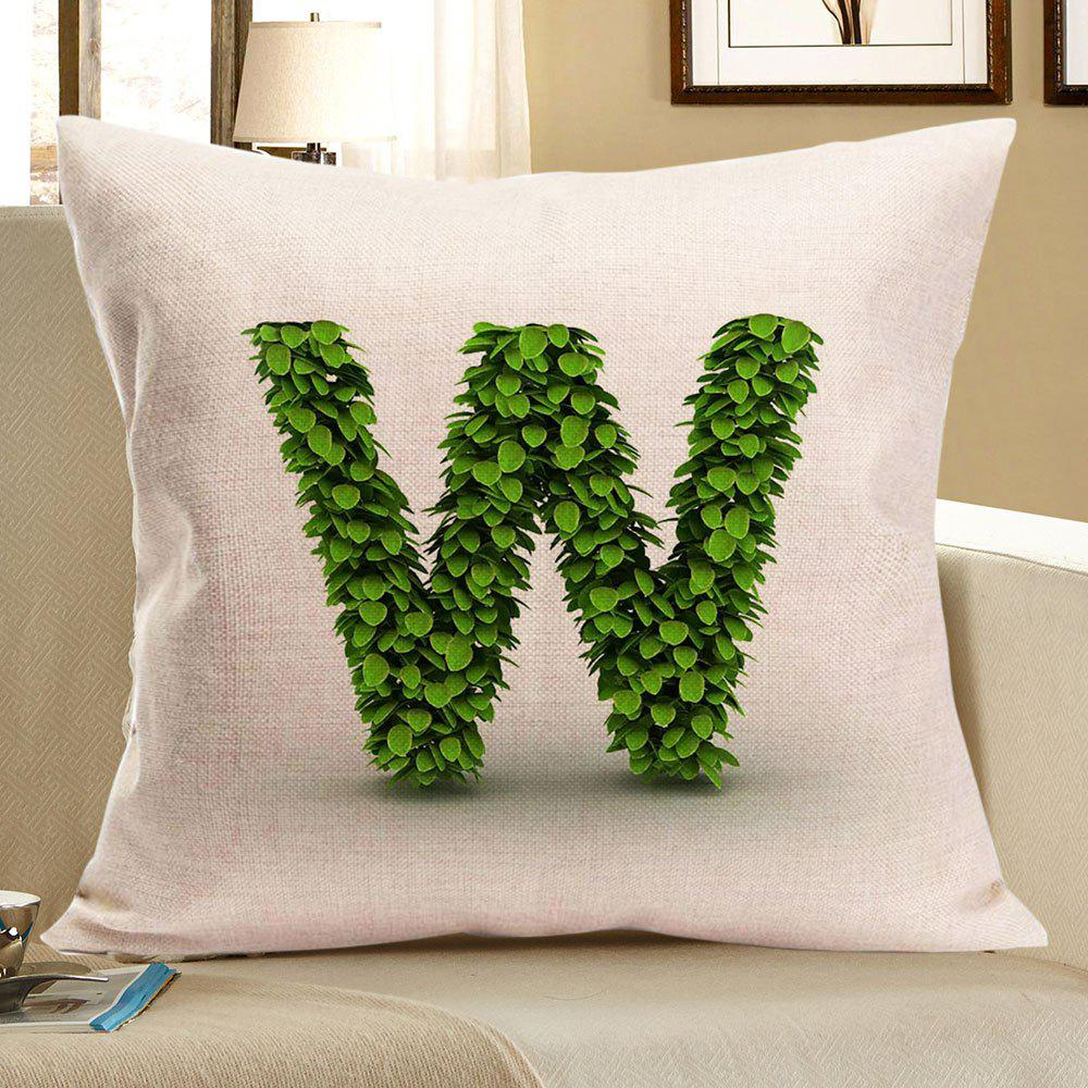 Leaves Letter W Printed Throw Pillow Case - GREEN W18 INCH * L18 INCH