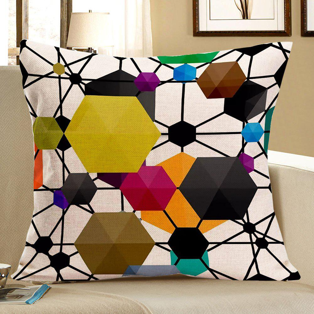 Geometric Hexagon Pattern Throw Pillow Case - COLORFUL W18 INCH * L18 INCH