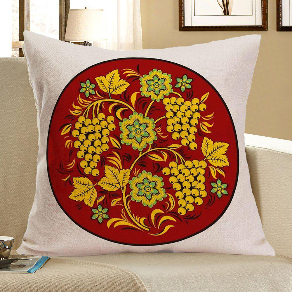 Linen Grapes Flowers Printed Pillow Case - BROWN W18 INCH * L18 INCH