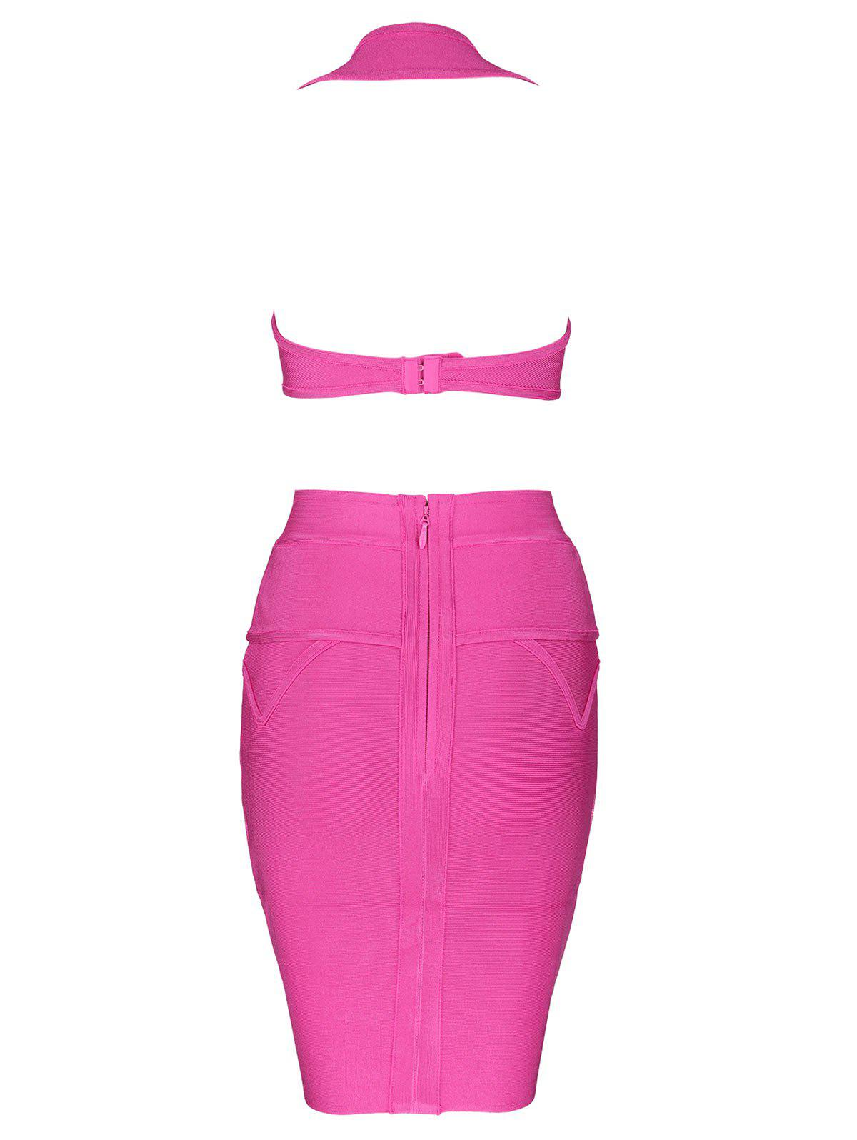 Sweetheart Neck Cut Out Bandage Dress - ROSE RED L