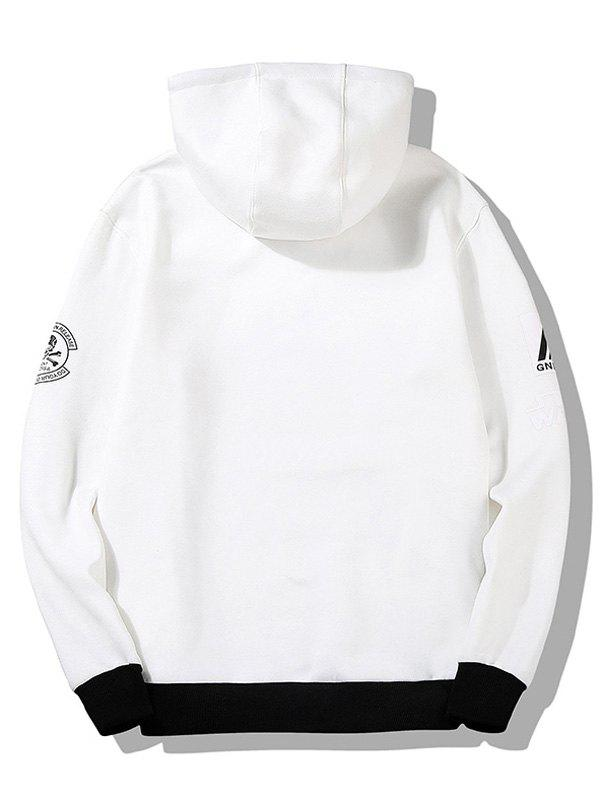 Graphic Flocking Hoodie - WHITE 2XL