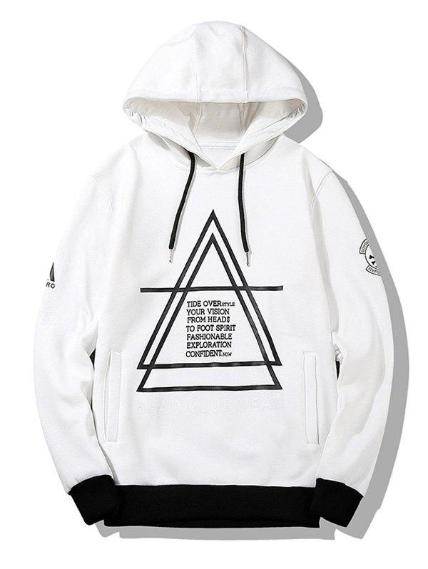 Graphic Flocking Hoodie - WHITE 4XL