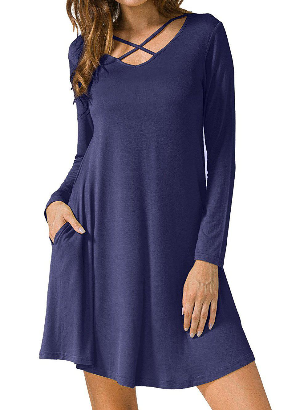Criss Cross Long Sleeve T Shirt Dress от Dresslily.com INT