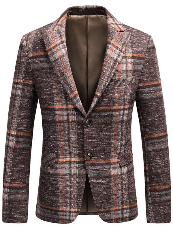 Single Breasted Lapel Tweed Plaid Blazer - ORANGE 3XL