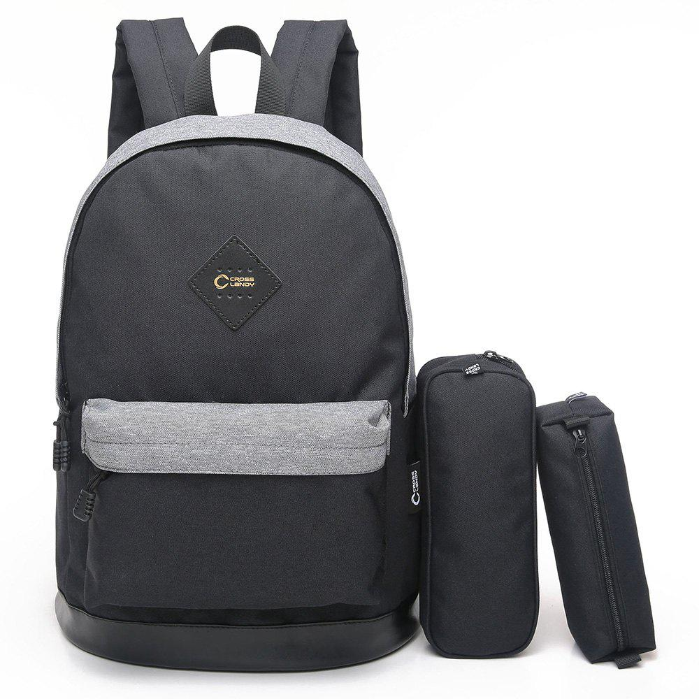 3 Pieces Backpack Set - BLACK GREY VERTICAL