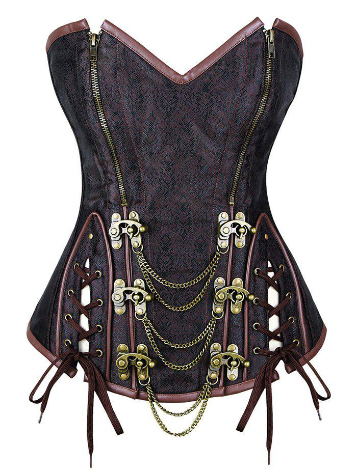 Lace Up Corset Top with Chain - BROWN 3XL