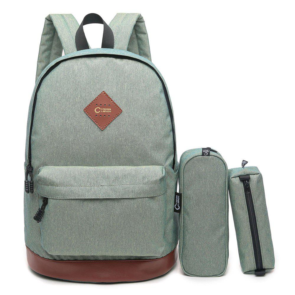 3 Pieces Backpack Set - PALE GREEN VERTICAL