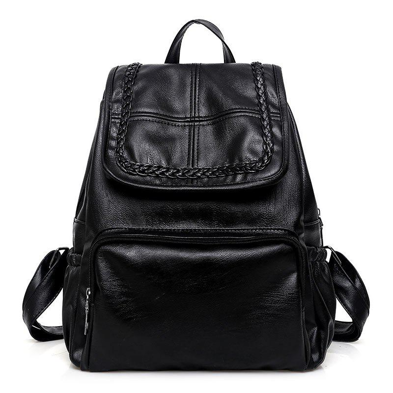 Braid Faux Leather Backpack - BLACK