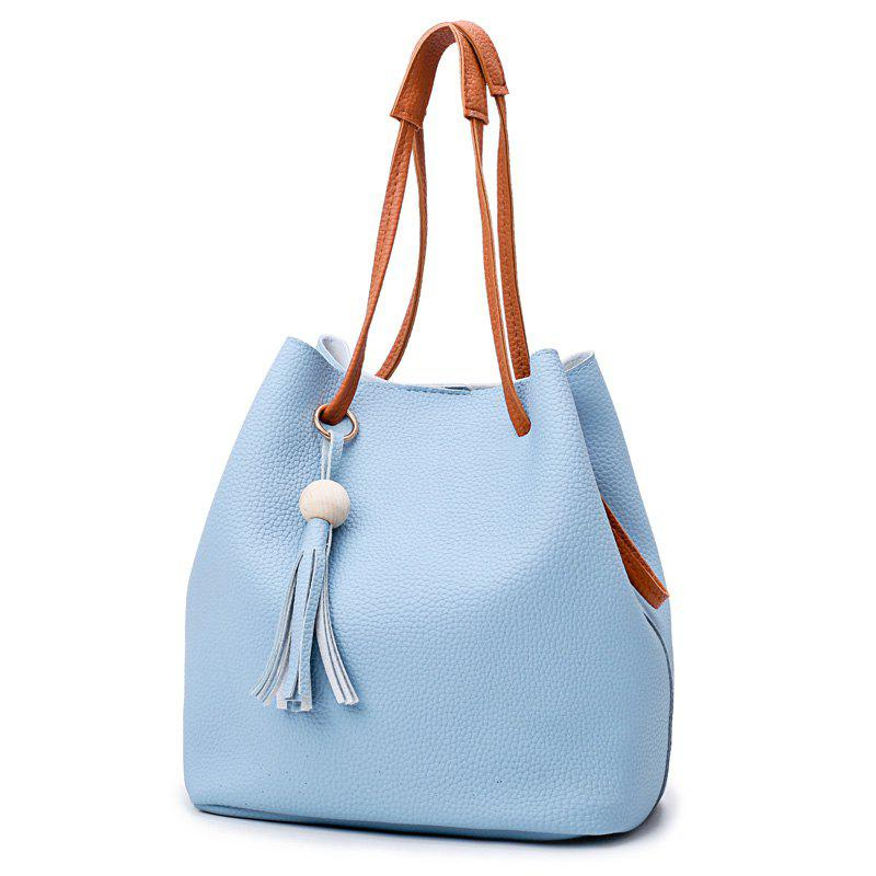 Faux Leather Tassel 4 Pieces Shoulder Bag Set - AZURE