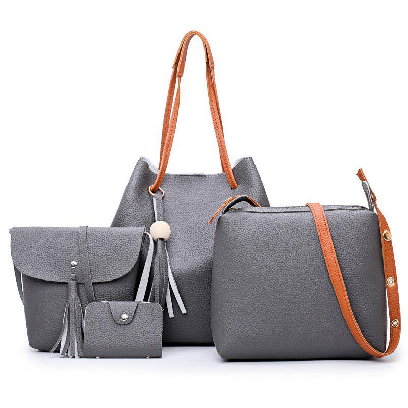 Faux Leather Tassel 4 Pieces Shoulder Bag Set - DEEP GRAY