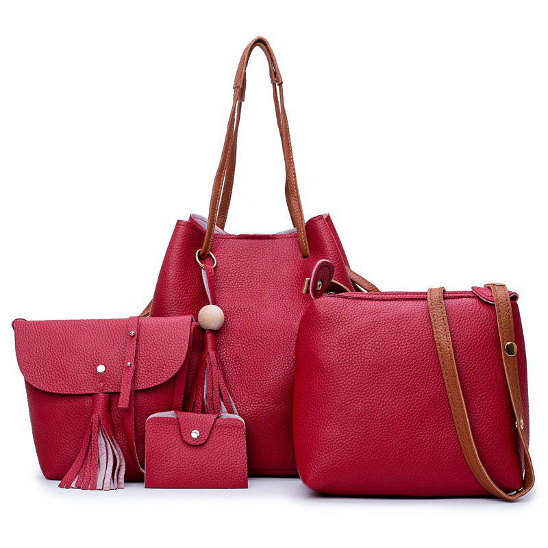 Faux Leather Tassel 4 Pieces Shoulder Bag Set - RED