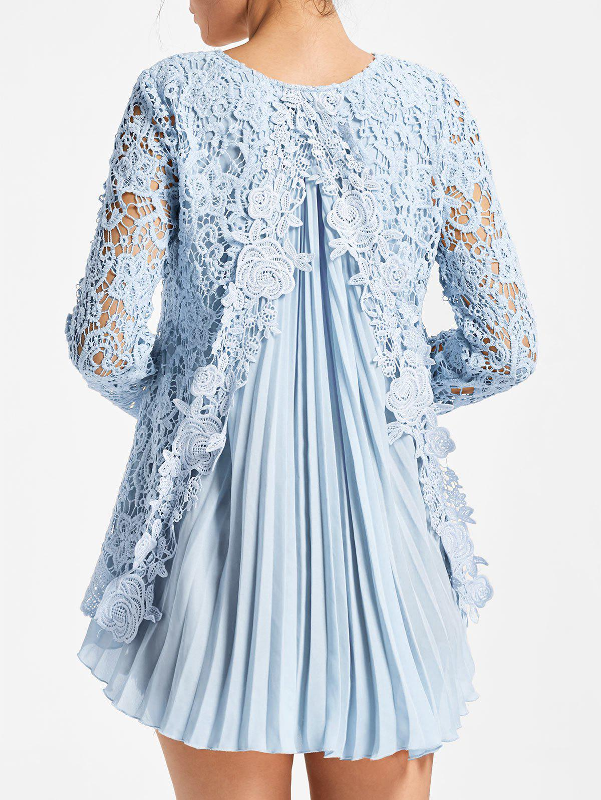 Long Sleeve Pleated High Low Lace Blouse - LIGHT BLUE M