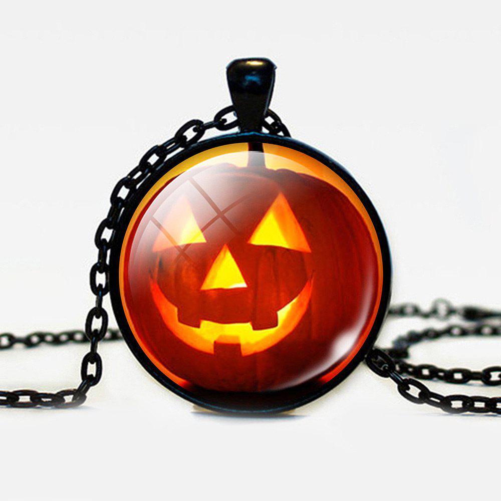 Halloween Round Devil Pumpkin Pendant Necklace - BLACK