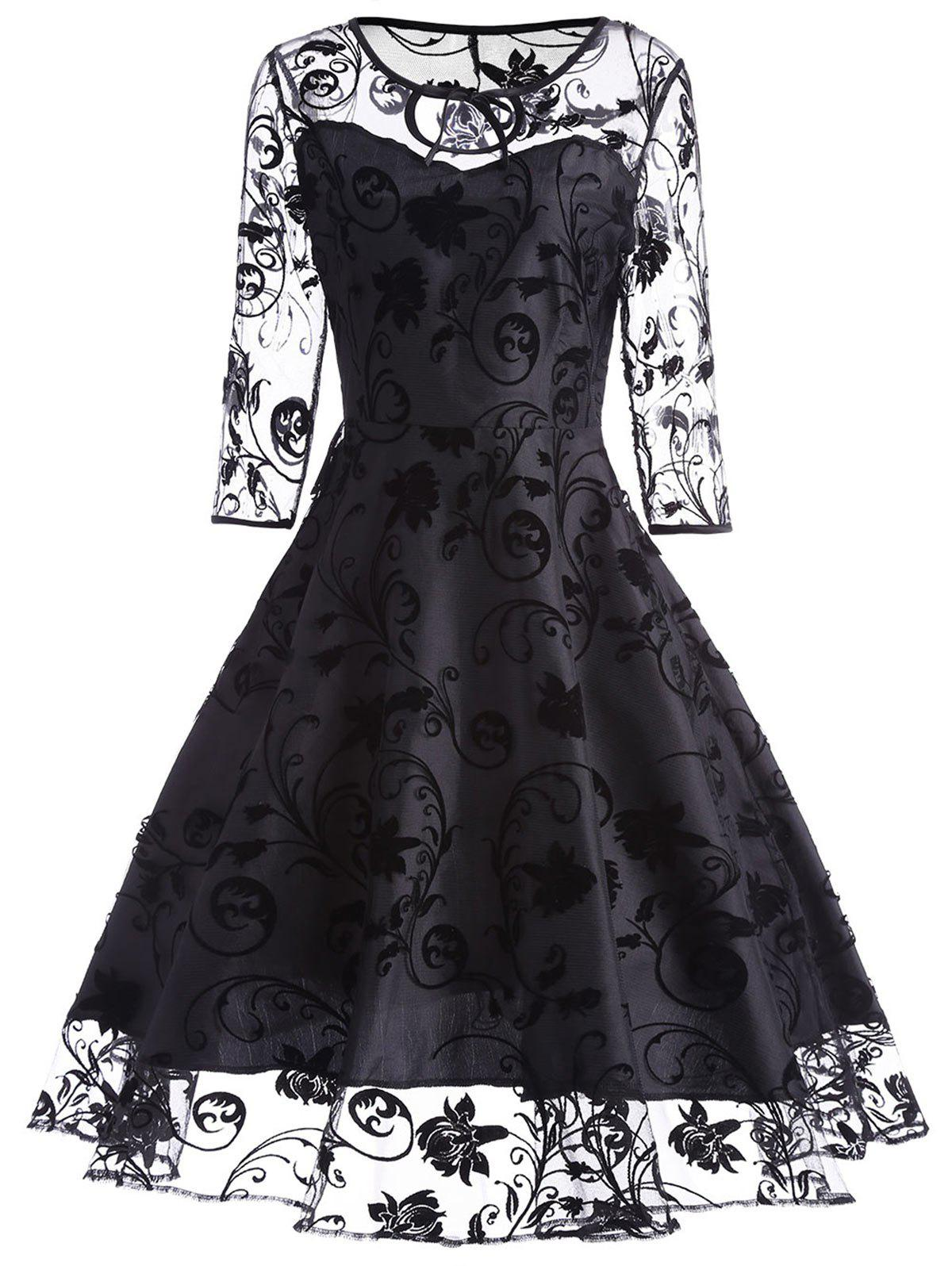 Keyhole Sheer Sleeve Lace Vintage Dress - BLACK L
