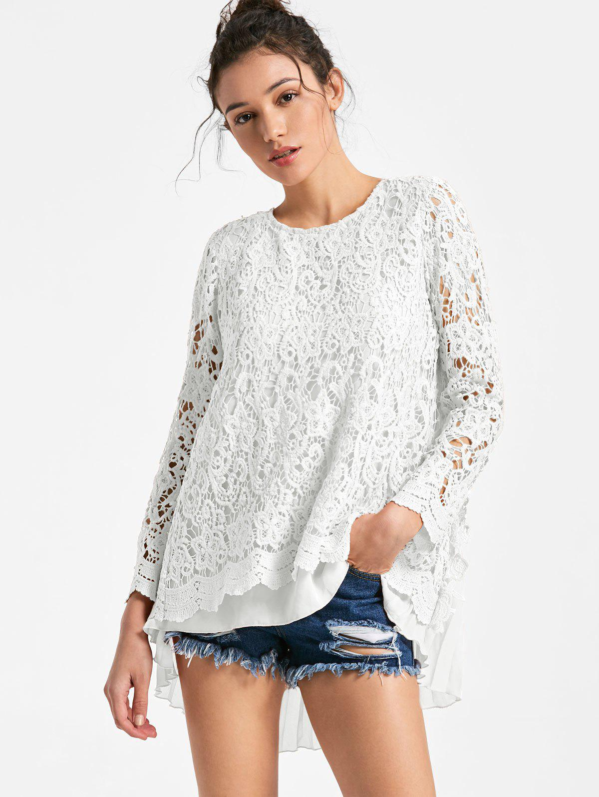 Long Sleeve Pleated High Low Lace Blouse - WHITE M
