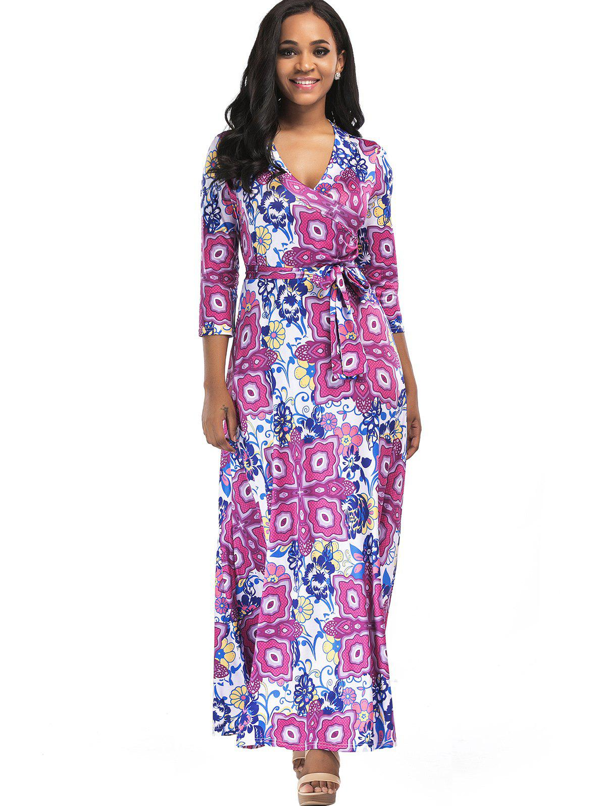 Surplice Belted Floral Print Maxi Dress - SANGRIA 2XL