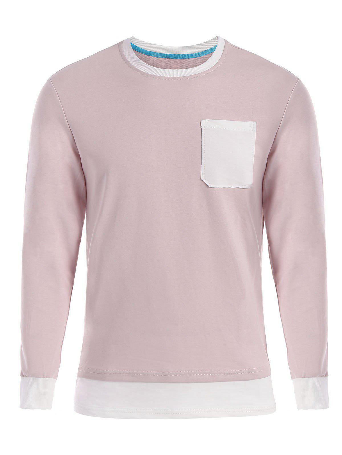 Contrast Trim Front Pocket Long Sleeve T-shirt - SHALLOW PINK 2XL