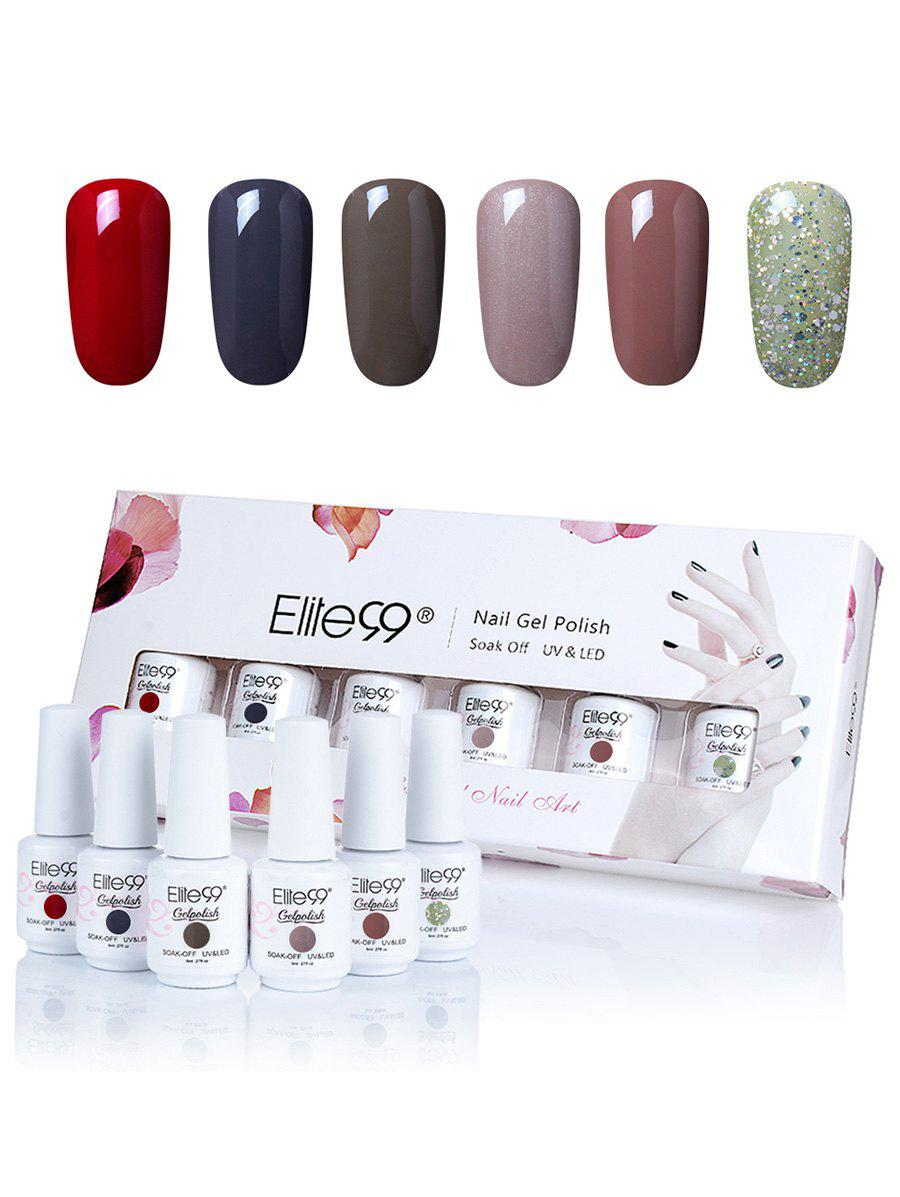 6 Colors Elite99 Soak Off Gel Polish Lacquer UV LED Nail Set -