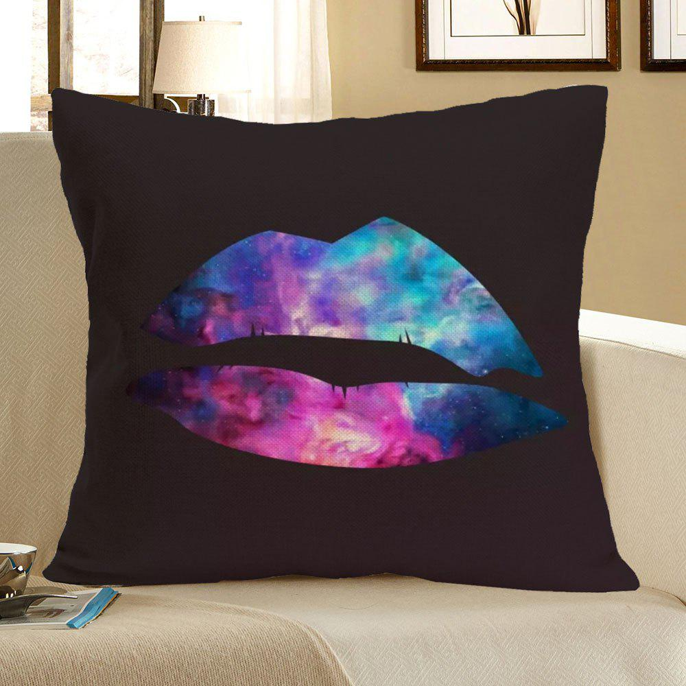 Linen Colorful Lip Printed Throw Pillow Case - COLORFUL W18 INCH * L18 INCH
