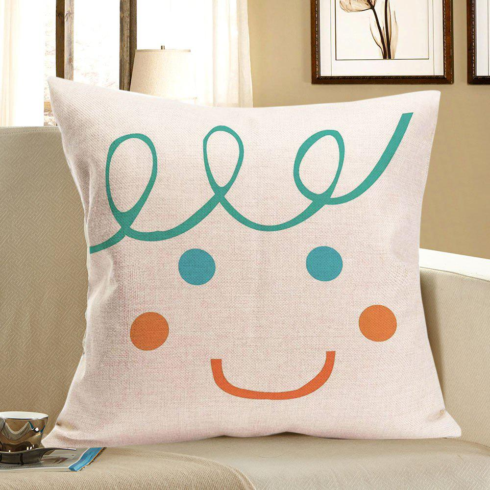 Home Decor Smile Face Patterned Throw Pillow Case - COLORFUL W18 INCH * L18 INCH