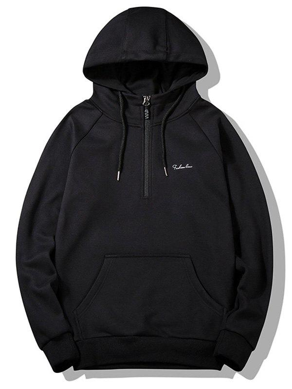Flocking Half-zipper Hoodie - BLACK L
