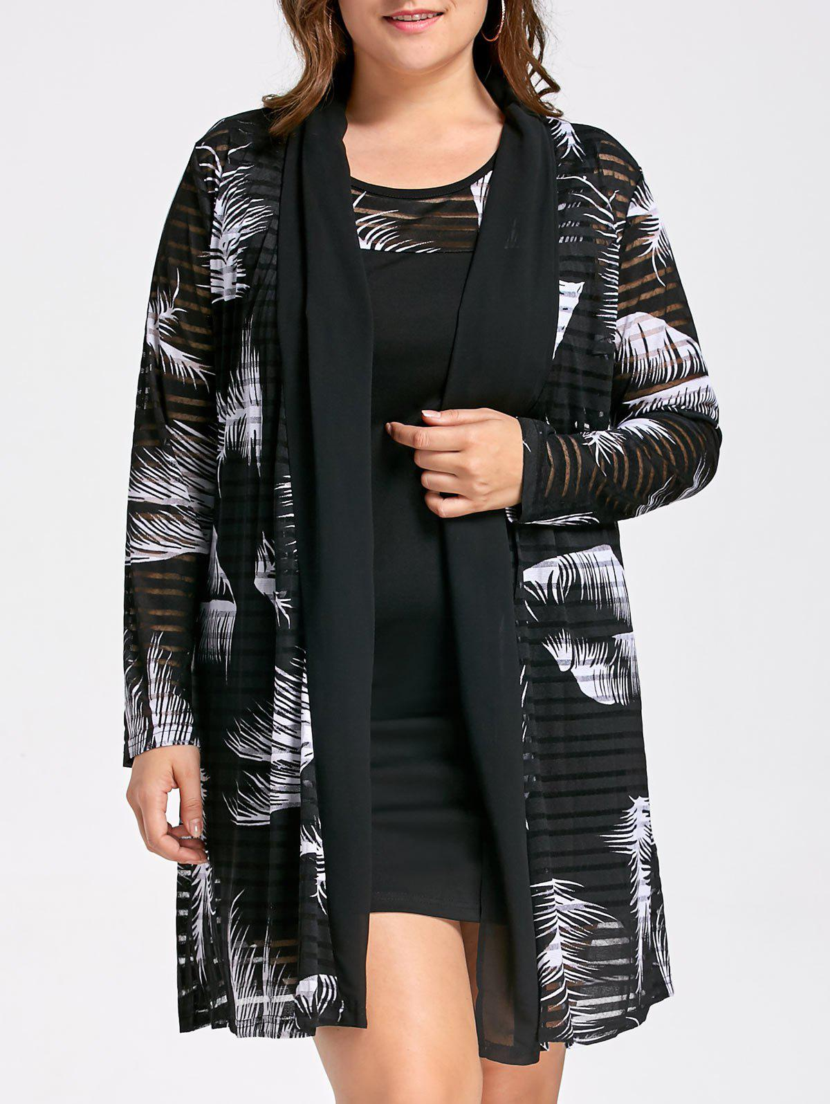 Plus Size Tank Dress with Long Mesh Sheer Cardigan plus size tank dress with long mesh sheer cardigan