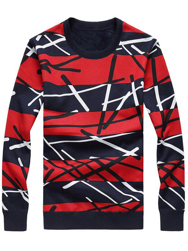 Stripe Crew Neck Flocking Sweater - RED 4XL
