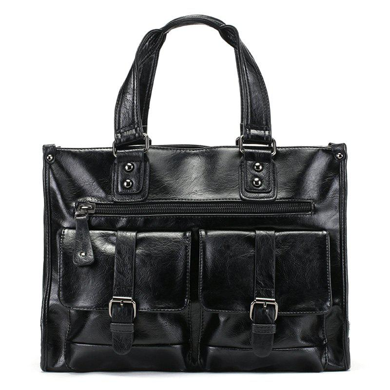PU Leather Double Buckle Straps Tote Bag - BLACK