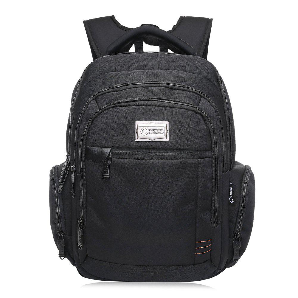 Top Handle Multi Zips Laptop Backpack - BLACK VERTICAL