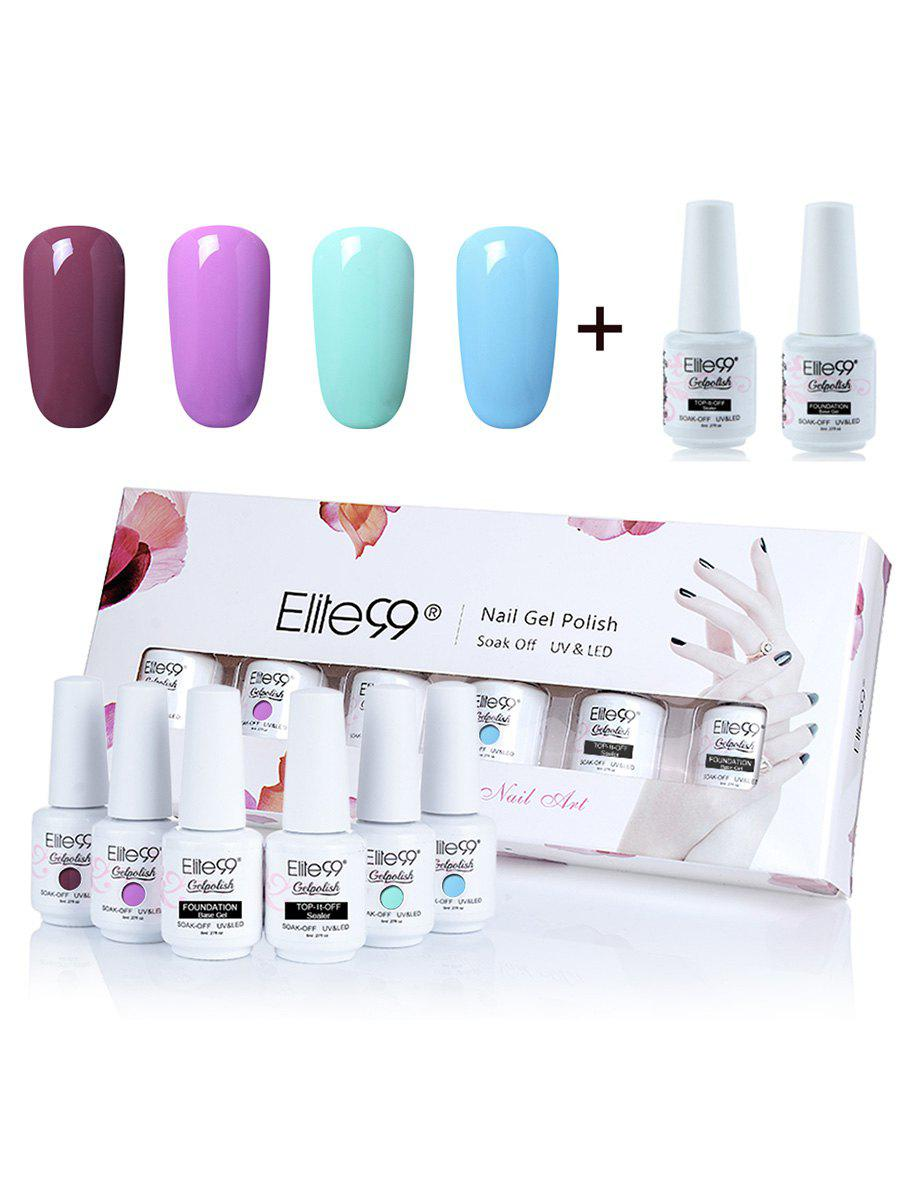 6Pcs Elite99 UV LED Soak Off Gel Polish Lacquer Nail Set -