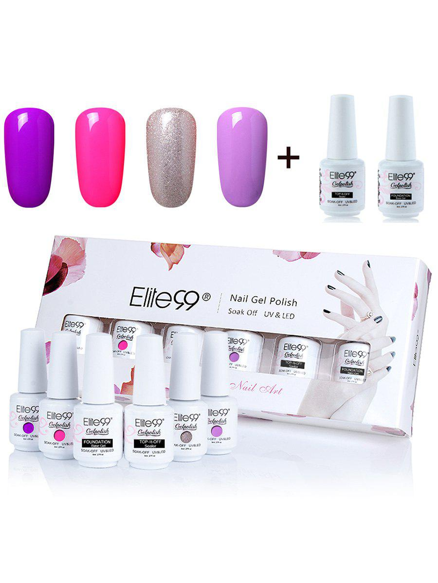 4 Colors Elite99 Soak Off Gel Polish Lacquer UV LED Nail Set -