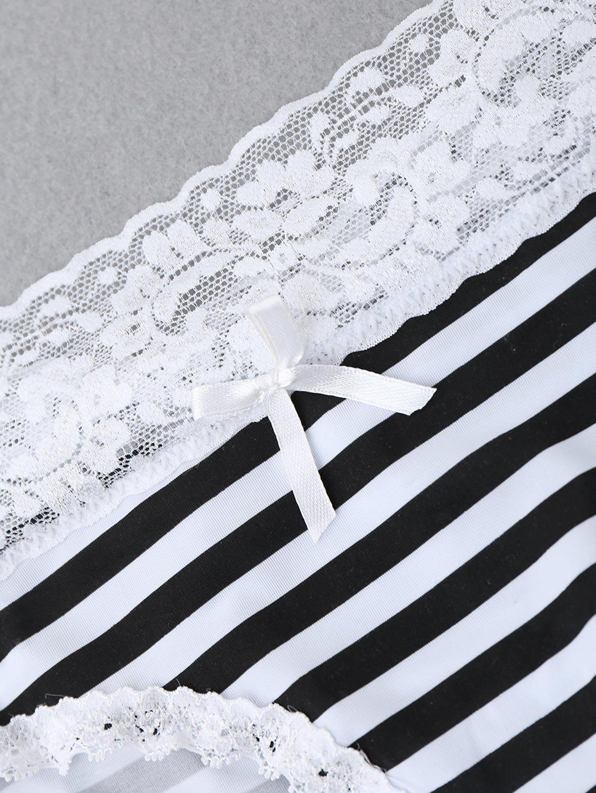 Striped Panties with Lace - WHITE/BLACK L